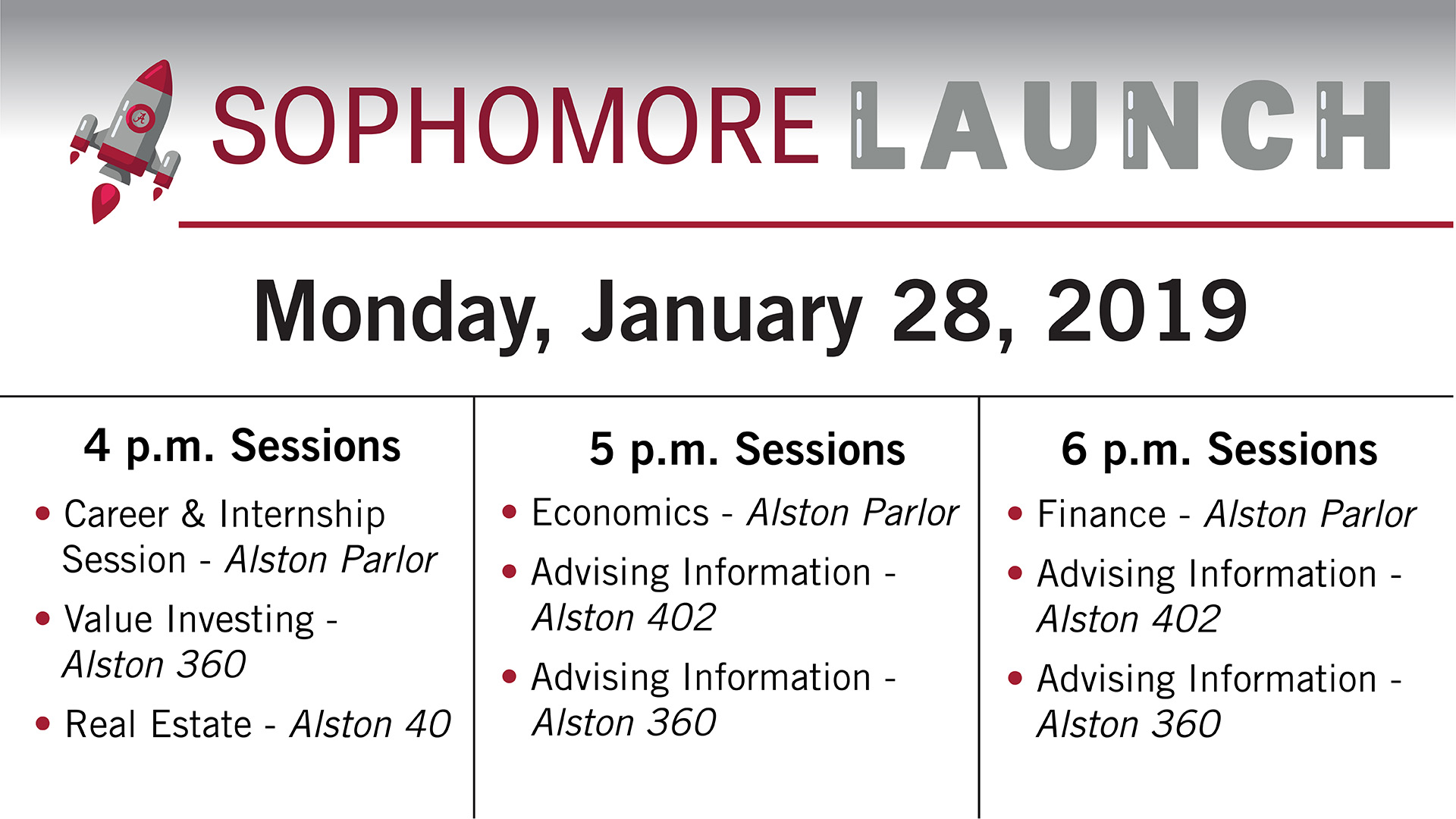 sophomore launch 2019 monday events