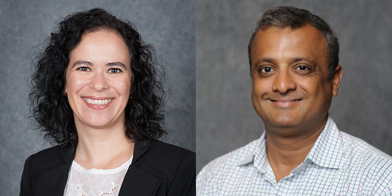 Drs. Sandra Mortal and Vishal Gupta headshots.