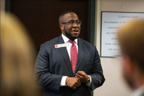 Incoming MBA candidate PJ Hatcher presenting his team's proposal at the 2018 Speaker's Edge competition.