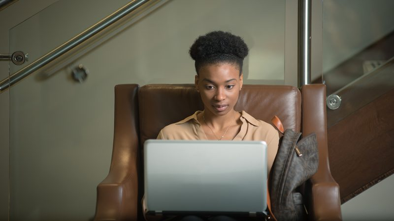 woman studying online