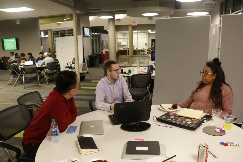 Start-Up Weekend participants collaborating on projects for the competition.