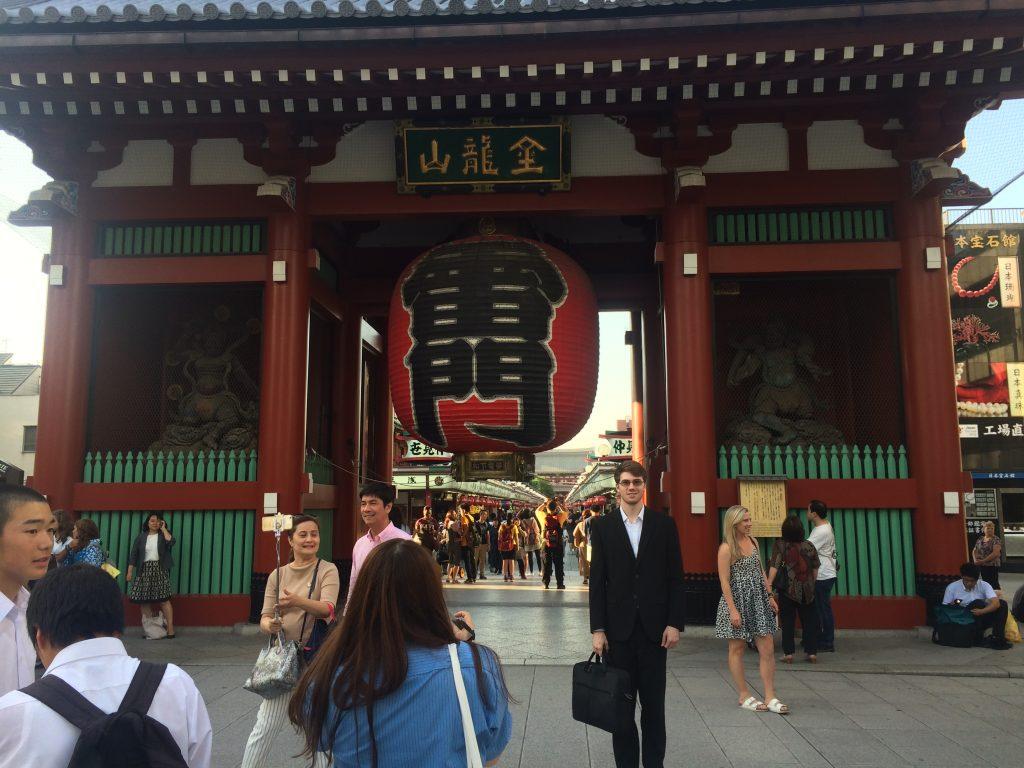 Warren Snell in front of the Sensou-ji temple.