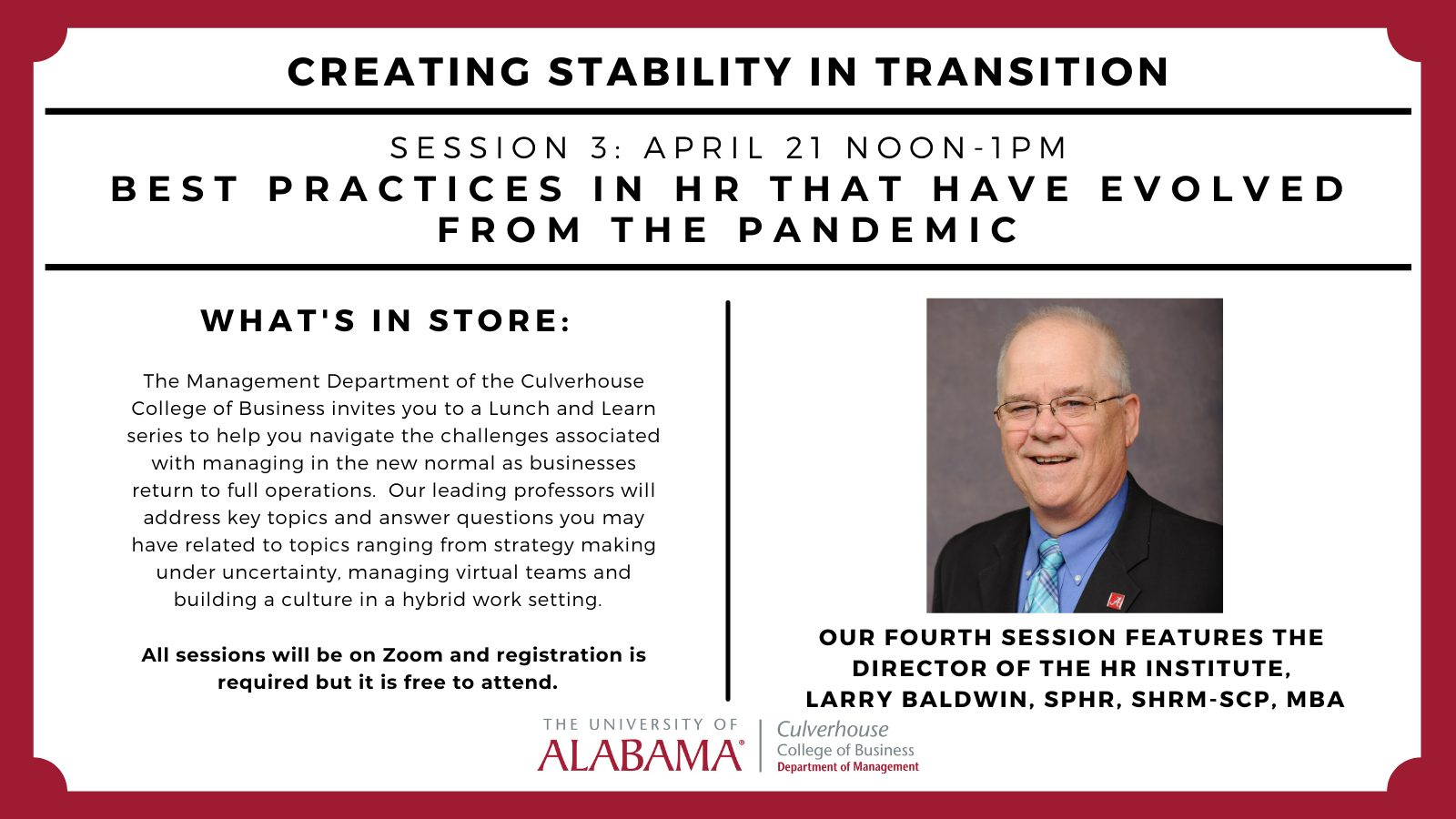 Creating Stability in Transition: Session 4 Larry Baldwin