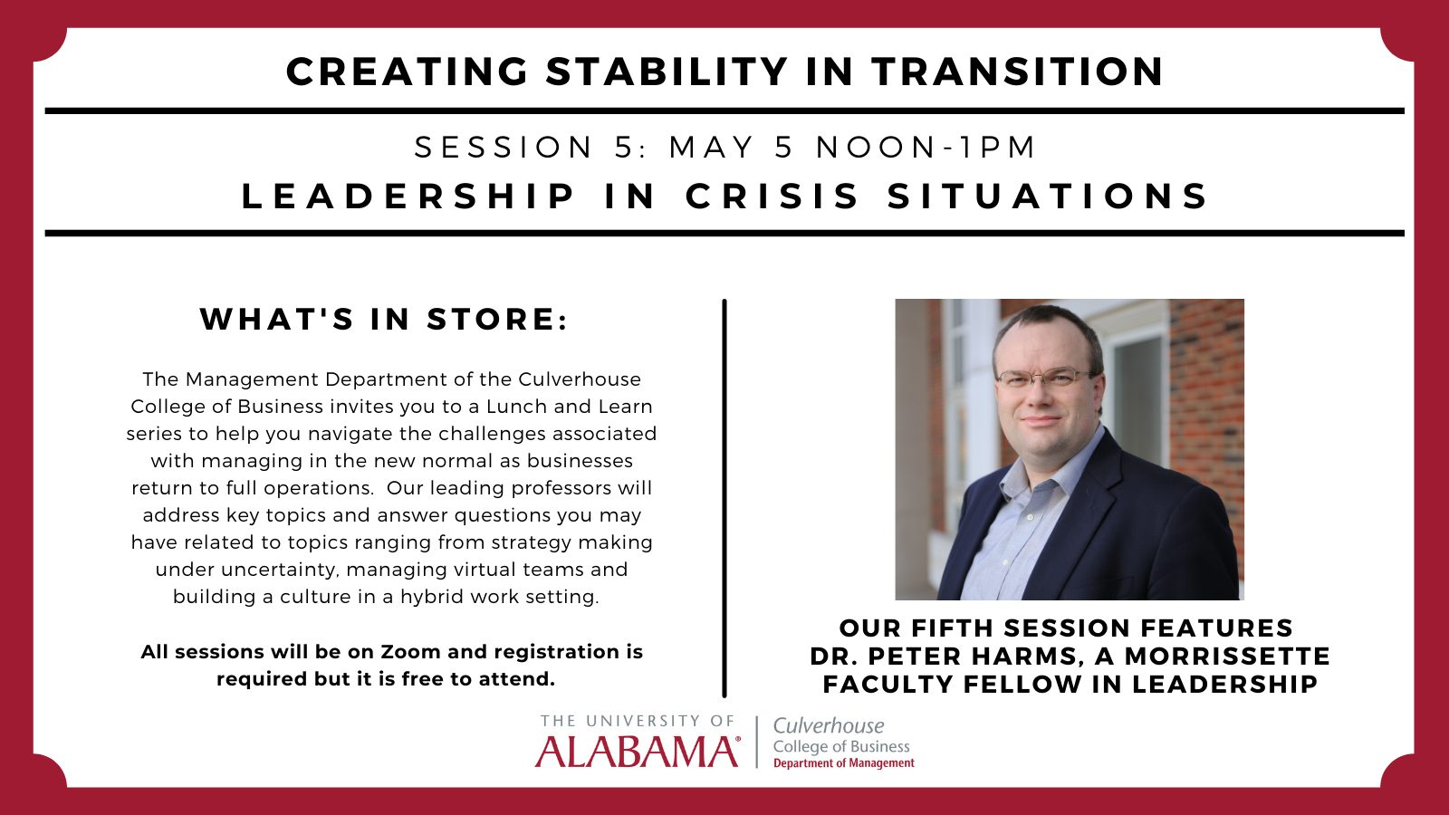 Dr. Peter Harms Session in the Creating Stability in Transition Series